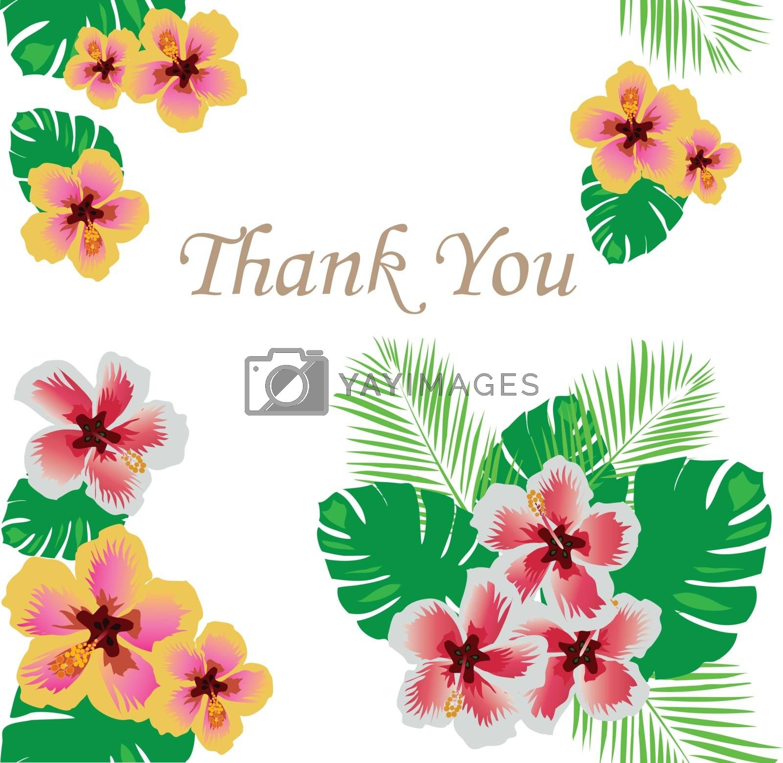vector illustration of thank you card floral frame