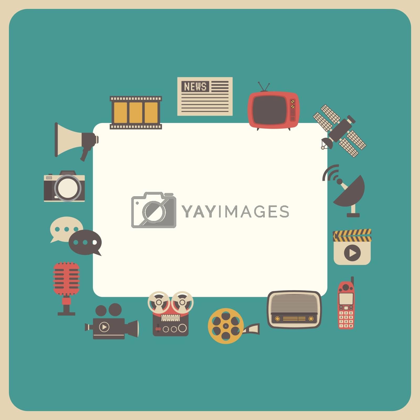 communication icon, retro technology, analog style
