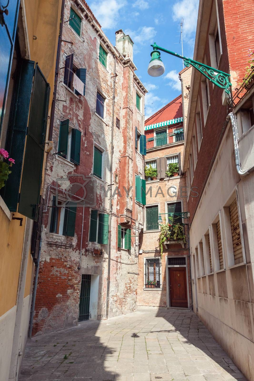Traditional medieval street in Venice,Italy