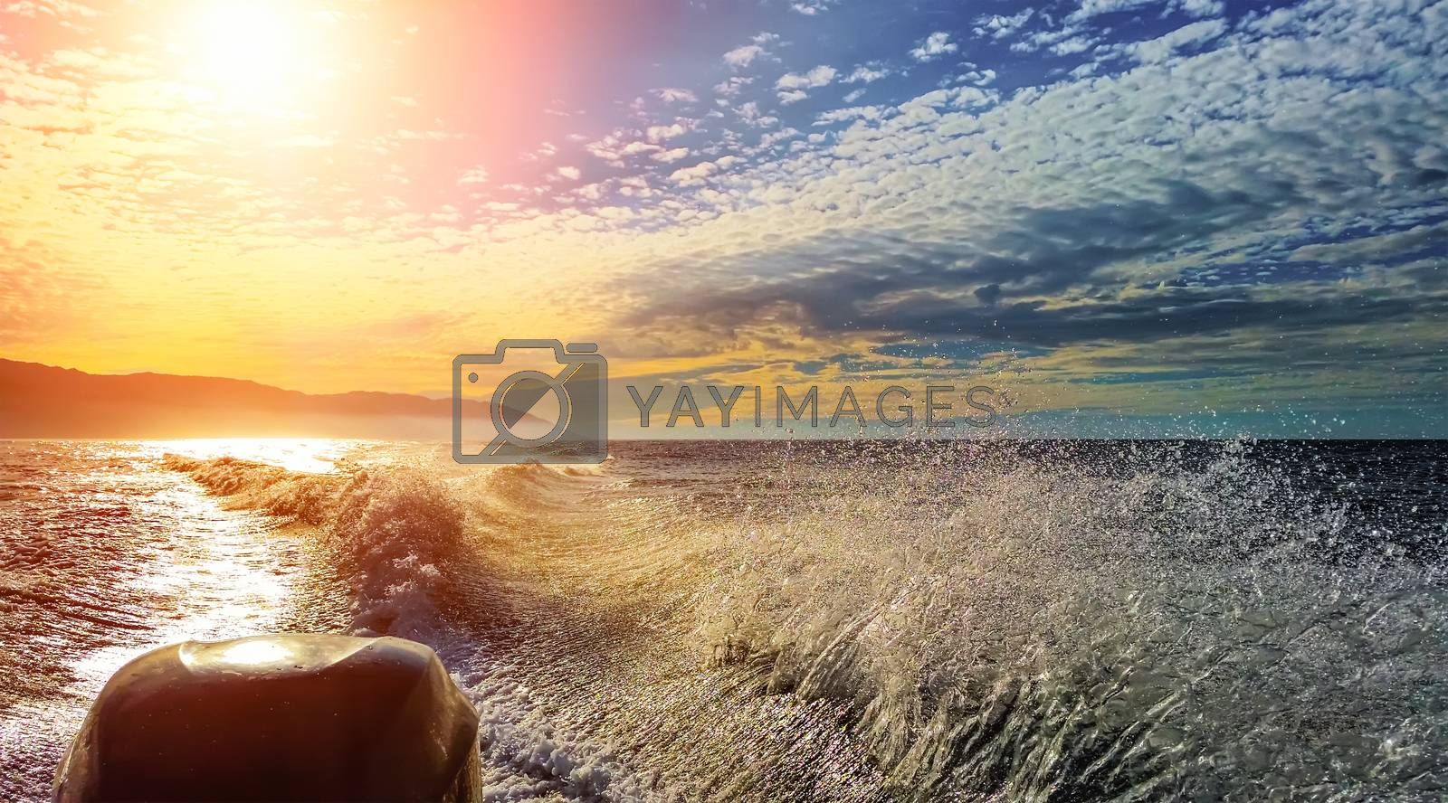 A view from a speedboat ripping water surface, and the Sun reflecting in the ocean.