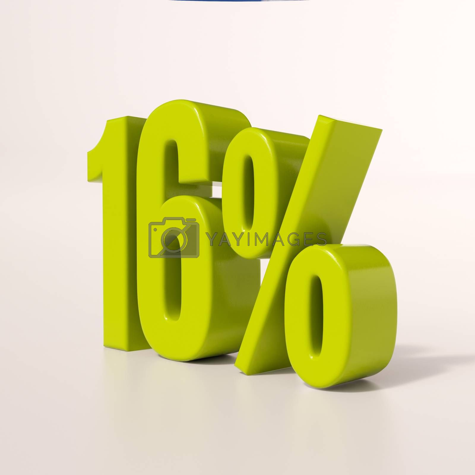 3d render: green 16 percent, percentage discount sign on white, 16%