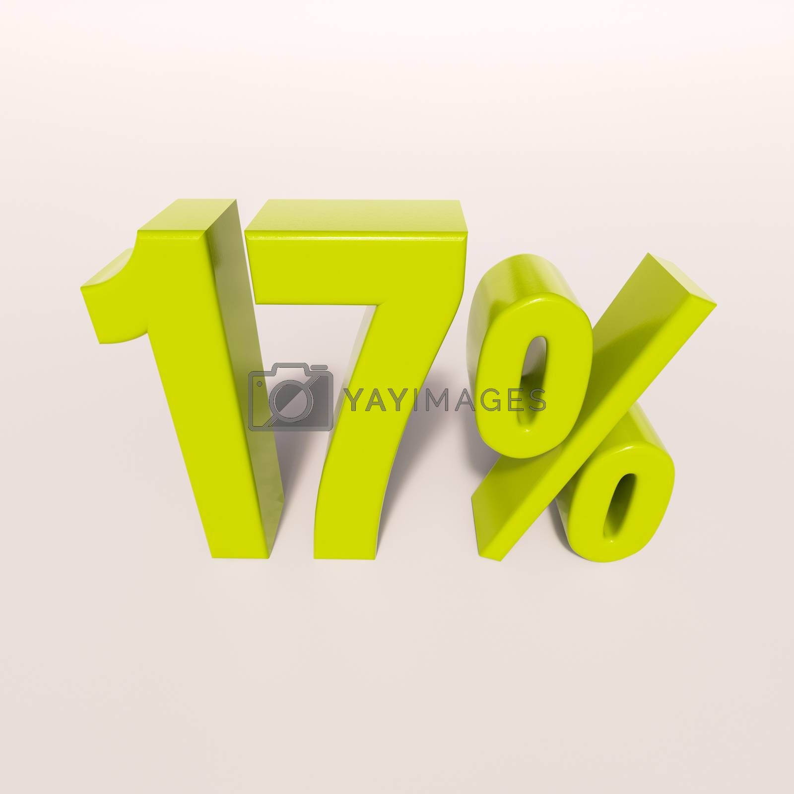 3d render: green 17 percent, percentage discount sign on white, 17%