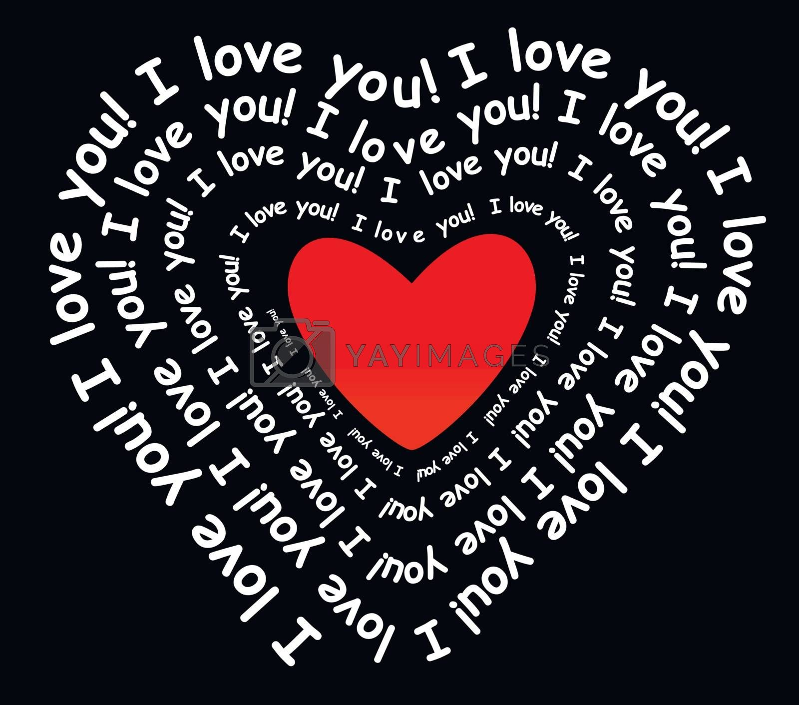 I love you in the form of heart