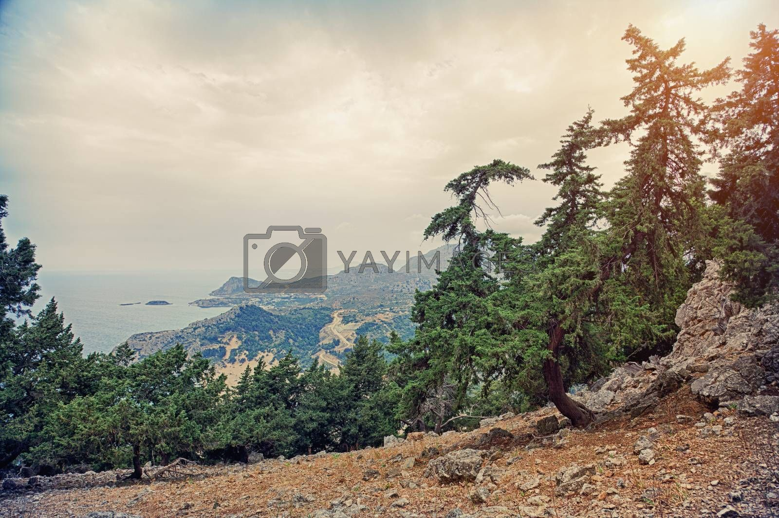 Beautiful Tsambika viewpoint landscape from mountain . HDR photo