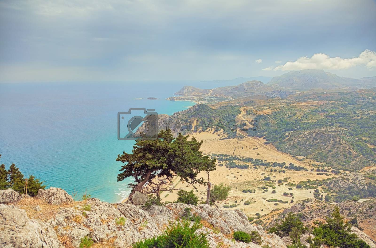 Beautiful Tsambika viewpoint landscape from mountain .Rhodes. Greece.  HDR photo