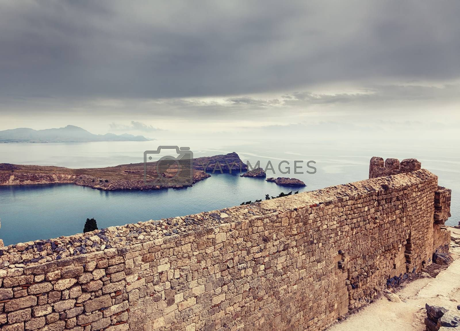 Lindos bay view from the antique fortress, Rhodes island, Greece