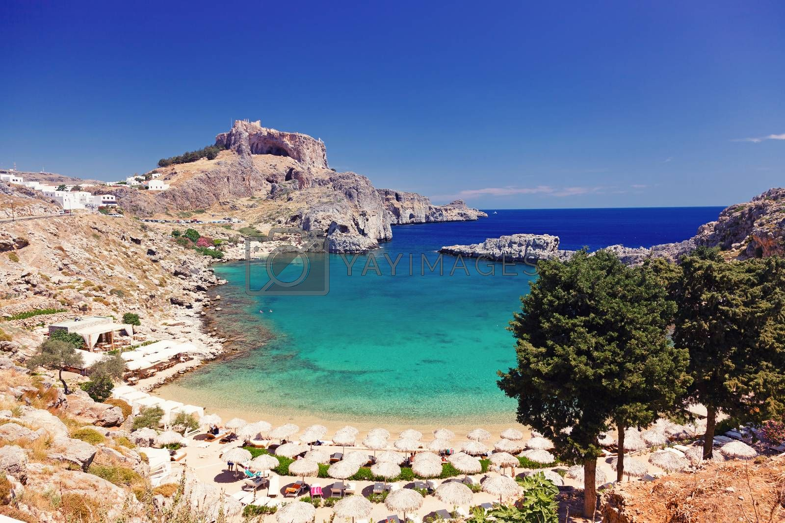 St. Paul's Bay in Lindos, Rhodes, Greece