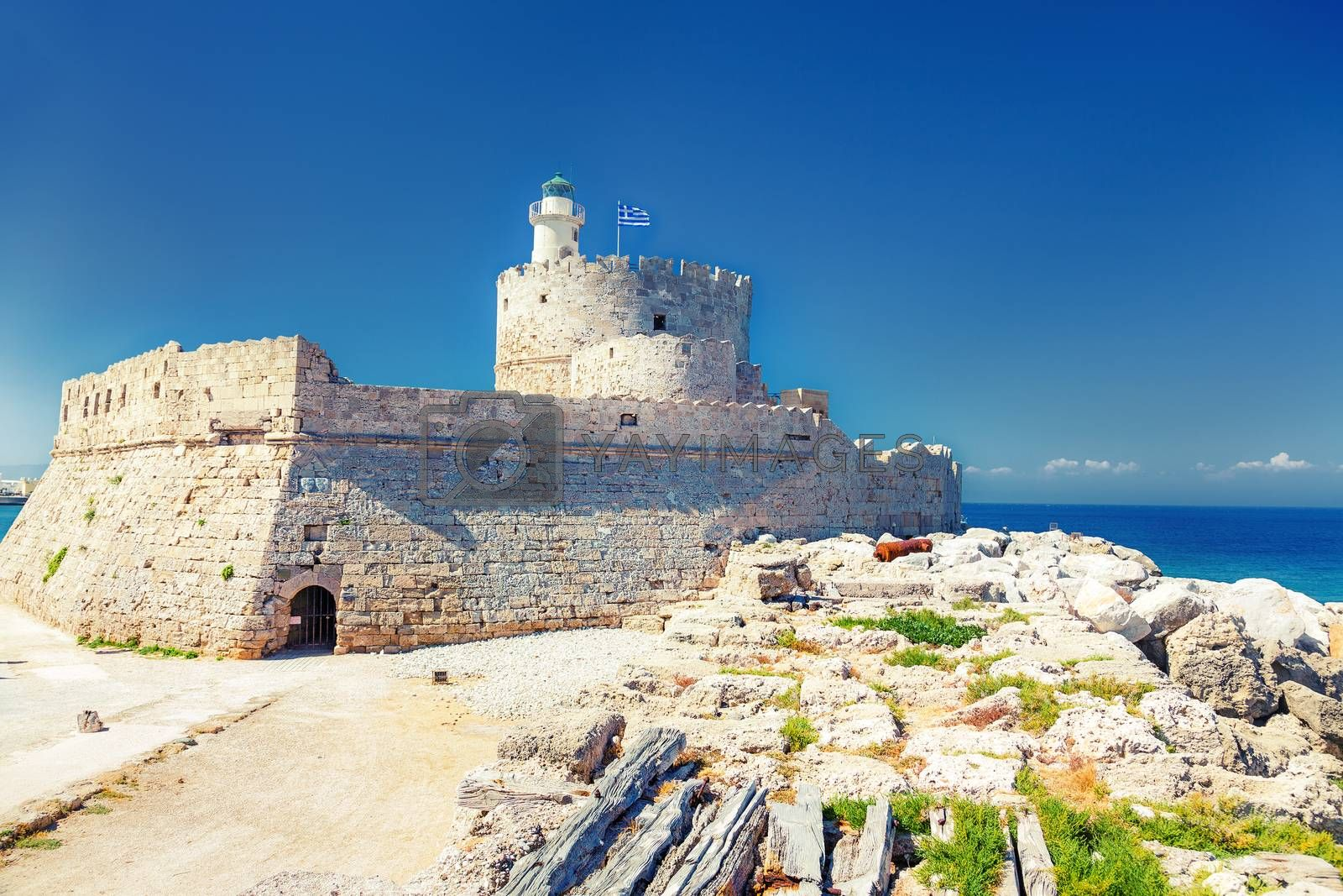 ancient Tower and Fort of Saint Nicholas in Rhodes, Greece