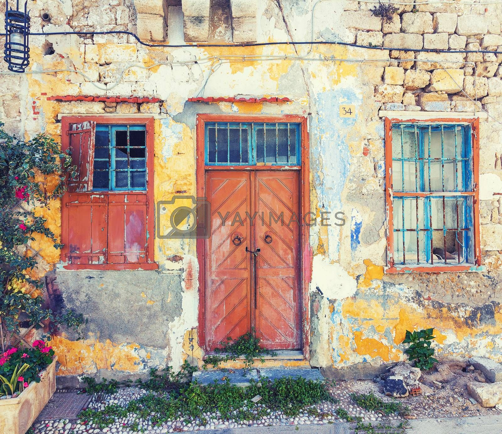 Photo of the old town  house, Rhodes island, Greece