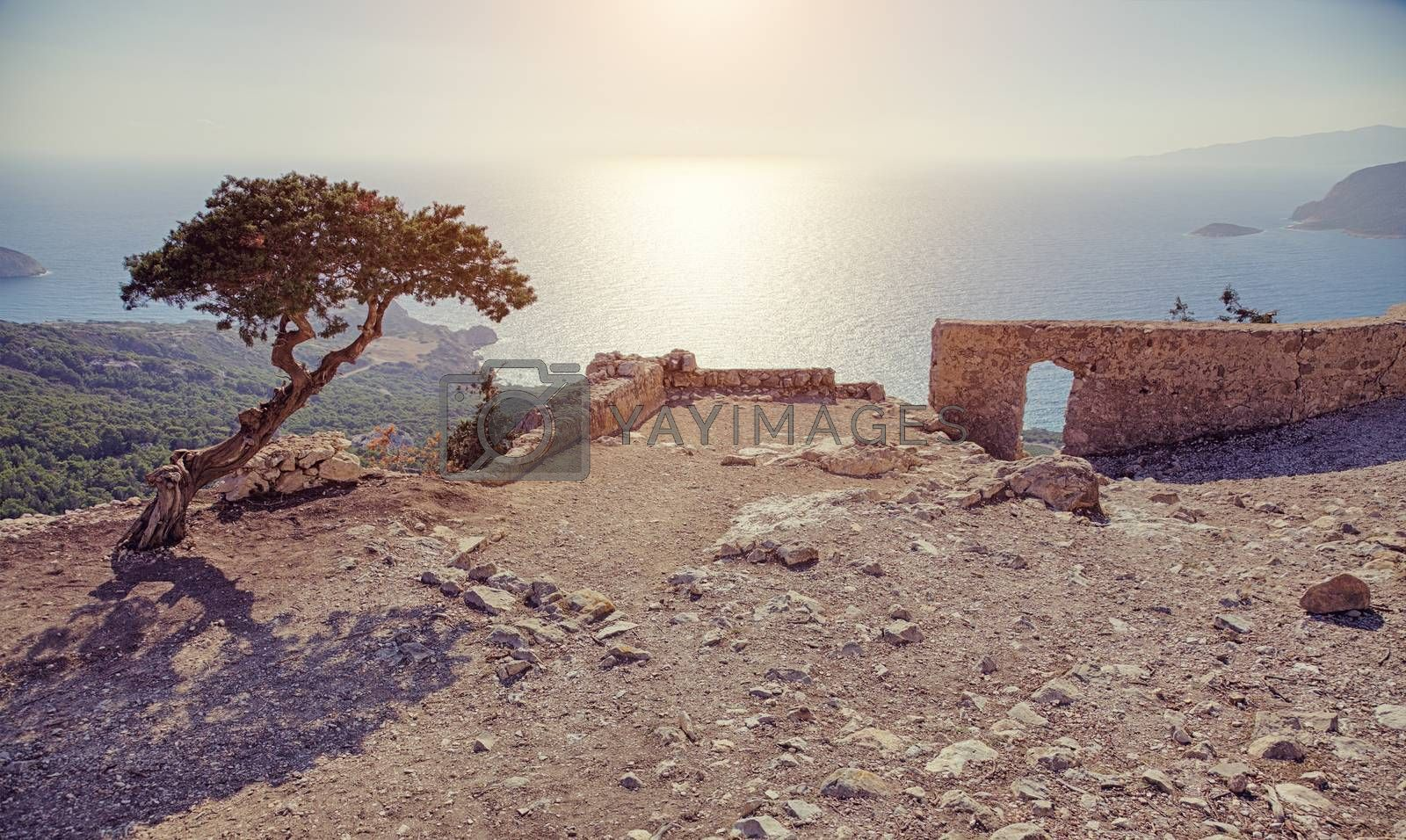 Photo of ruins of Monolithos castle on Rhodes island in Greece
