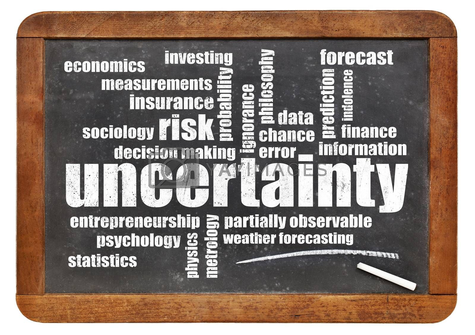 uncertainty and risk word cloud - white chalk text on a vintage blackboard