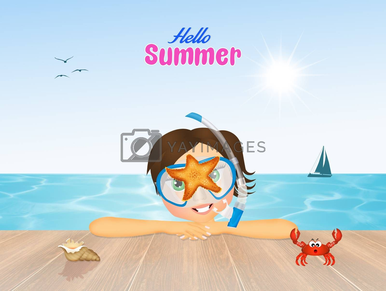 illustration of hello summer