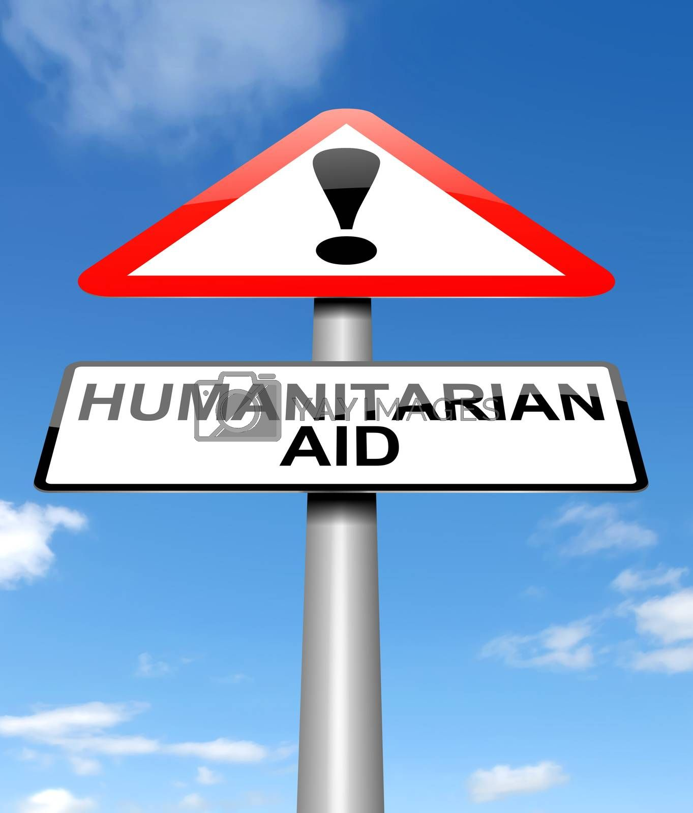 Illustration depicting a sign with a humanitarian aid concept.