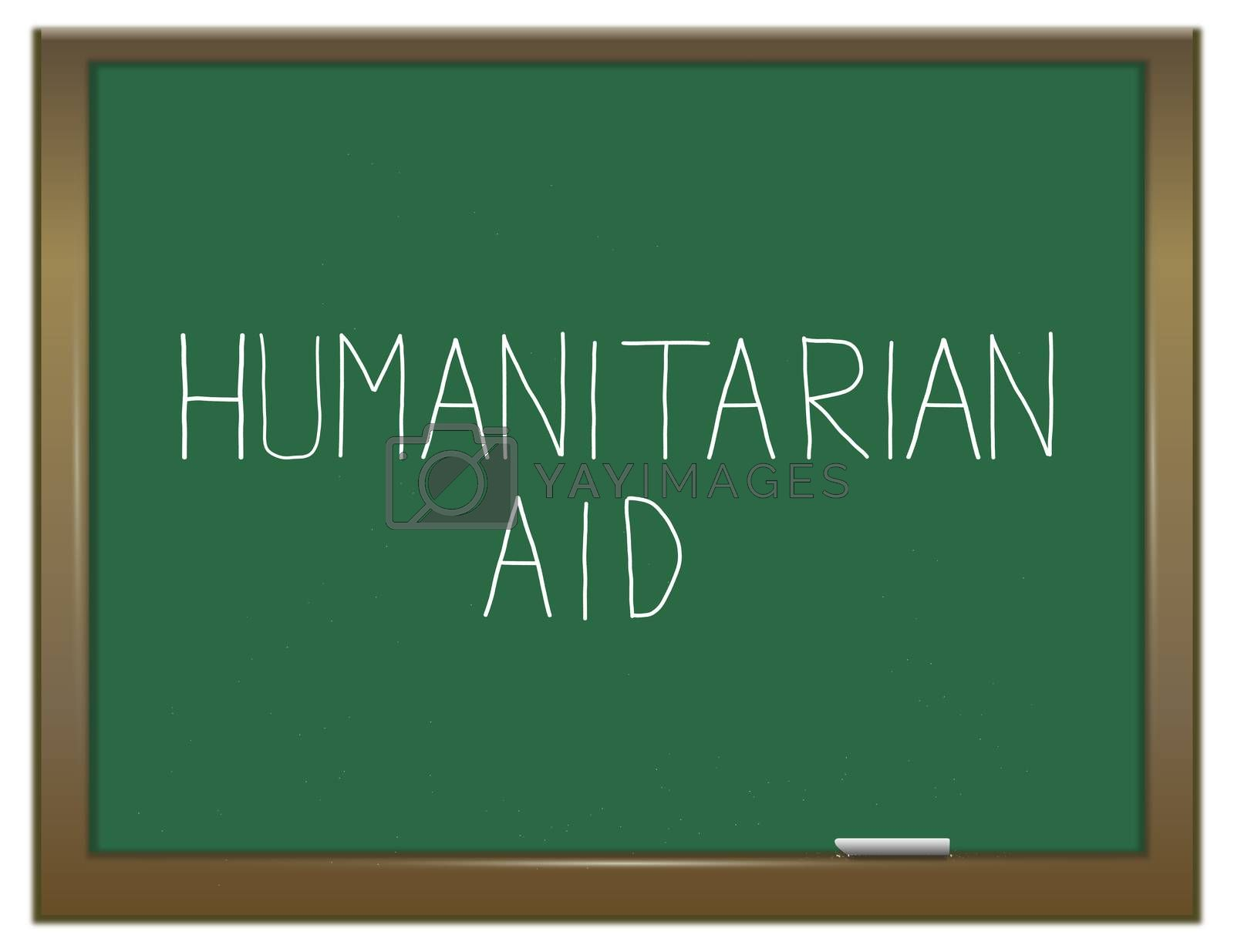 Illustration depicting a green chalkboard with a humanitarian aid concept.