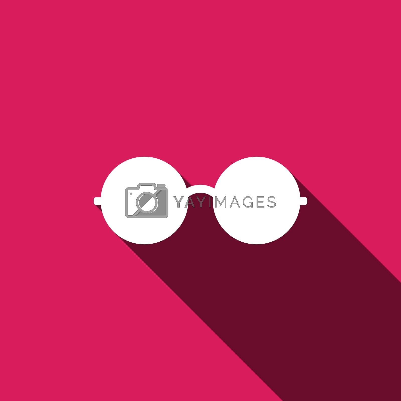 Glasses Icon. Vector illustration. Elements for design. Glasses Icon on pink background.