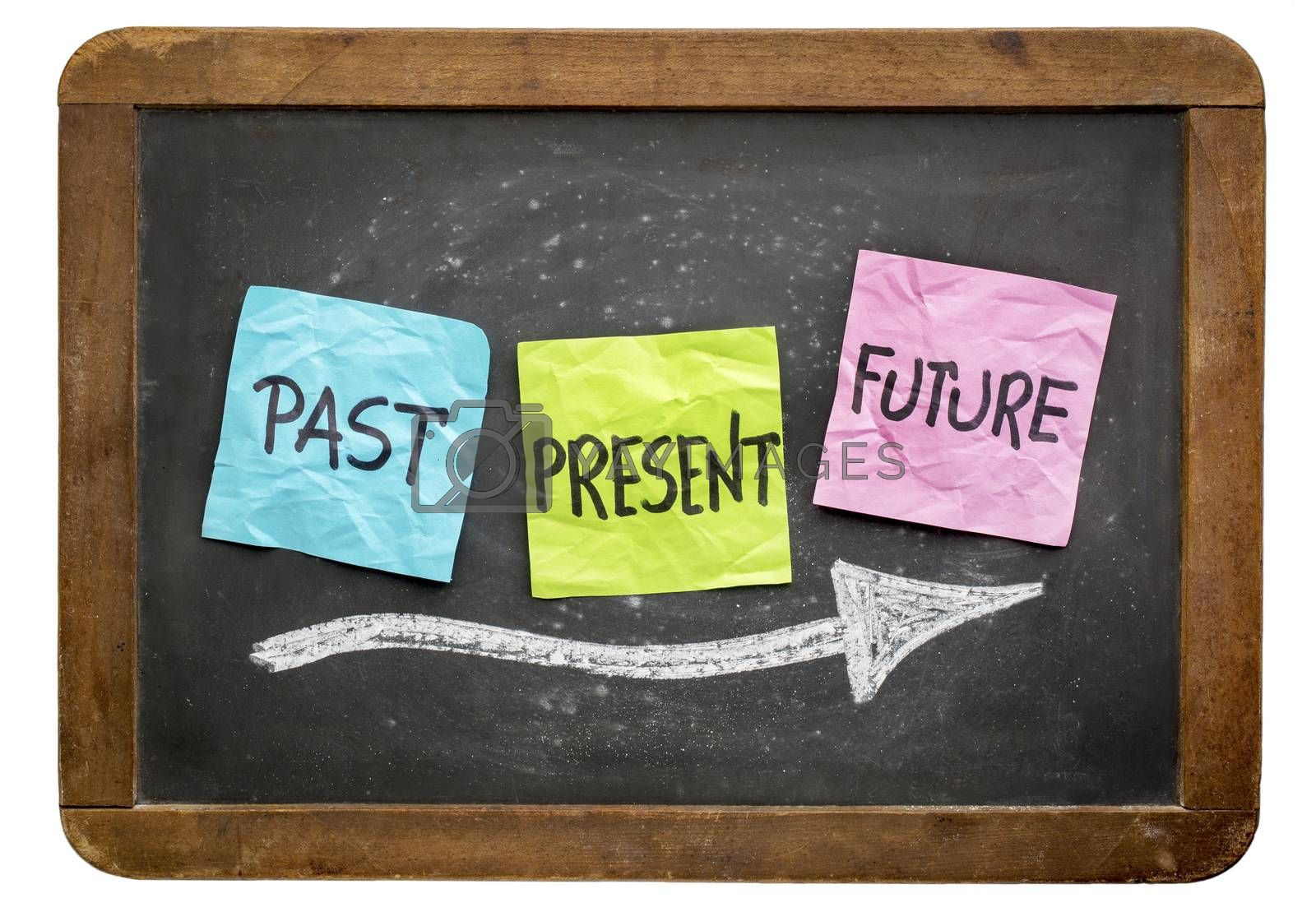 past, present and future concept -  sticky notes against isolated vintage blackboard