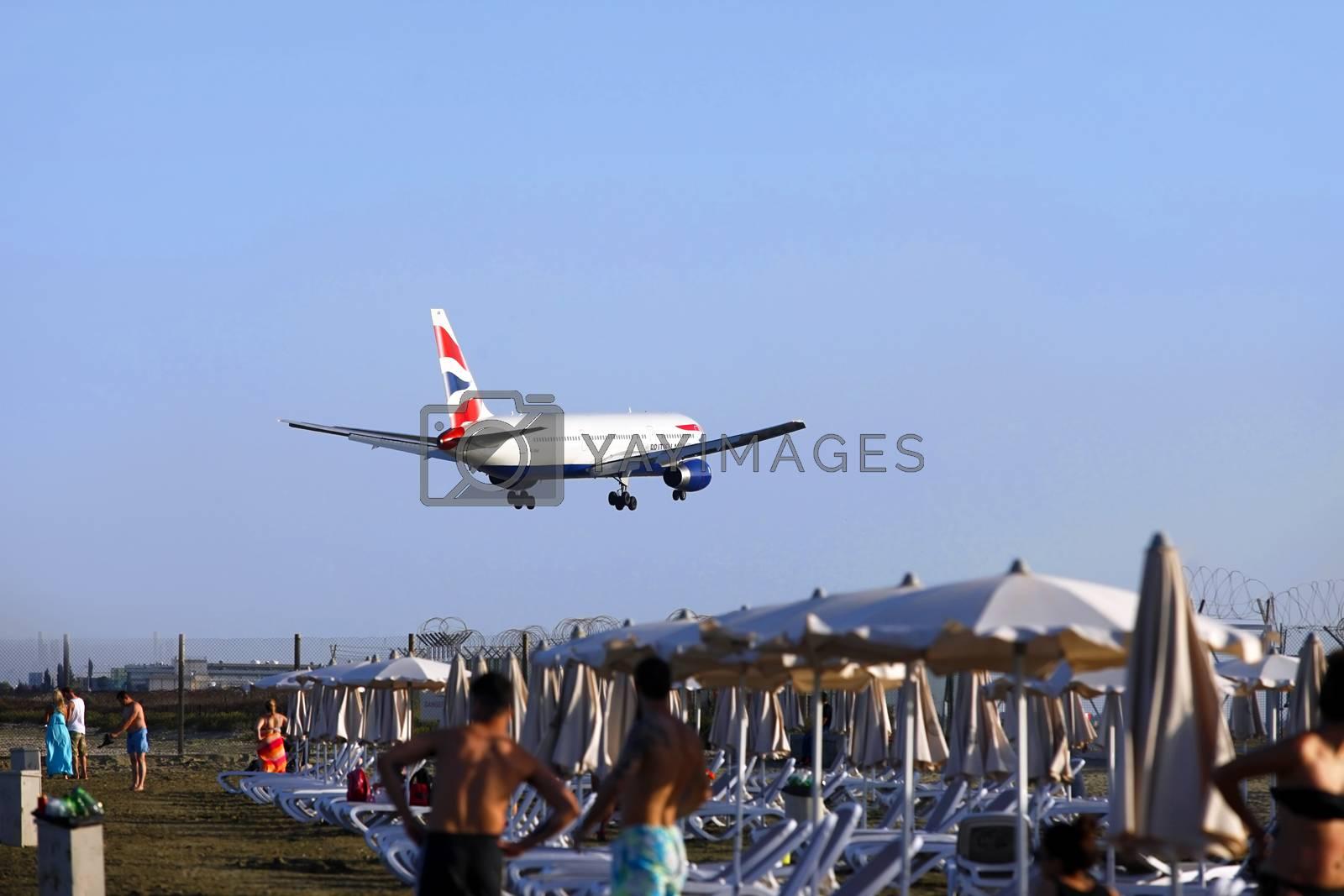 Larnaca, Cyprus - May 22, 2016: British Airways Airbus A320 landing at Larnaca International Airport