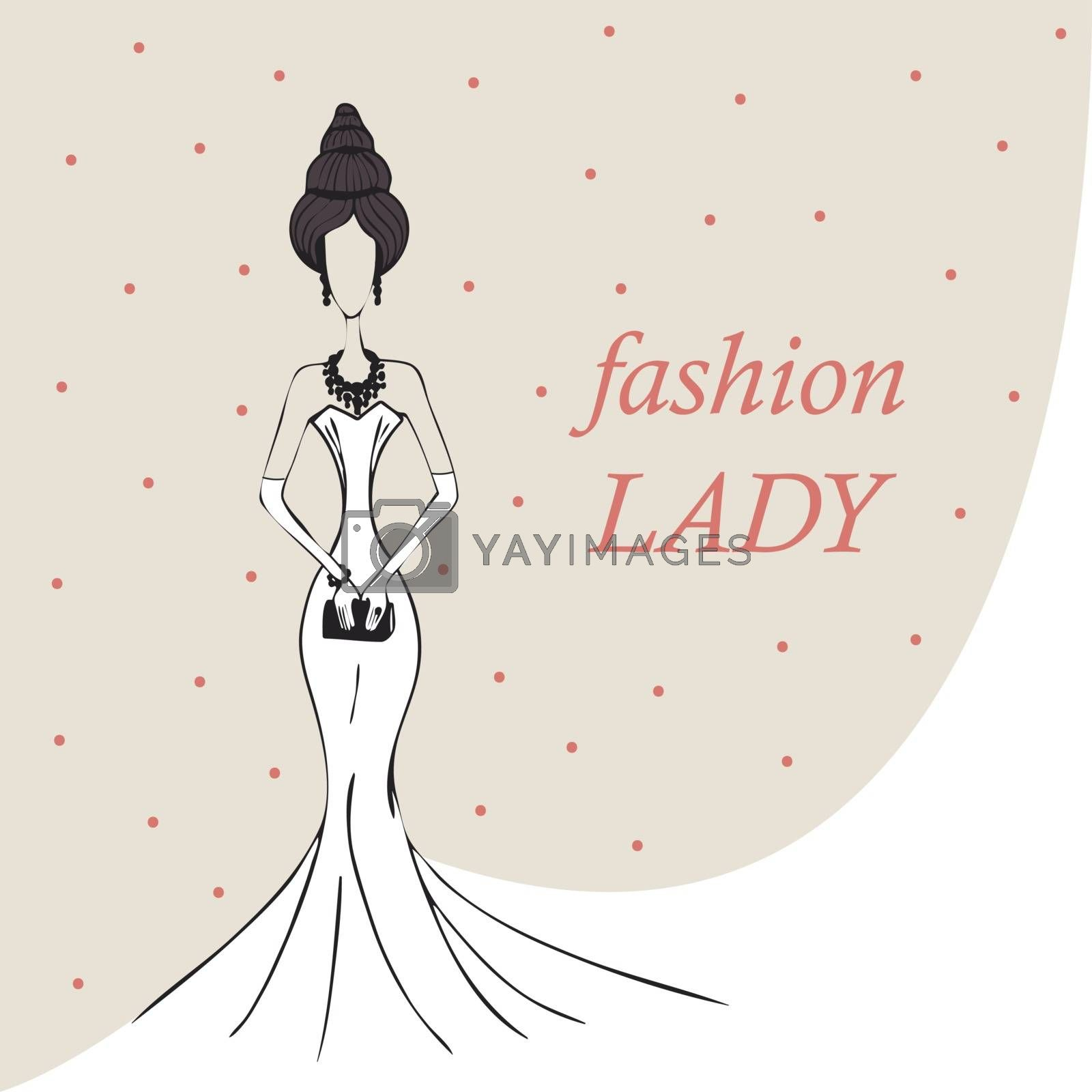 woman or girl in a white dress. fashion background. vector