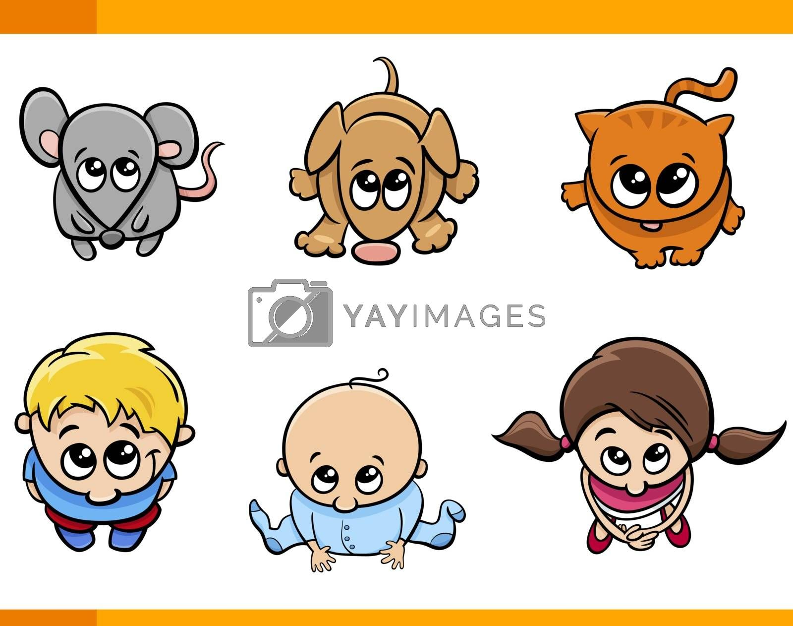 Cartoon Illustration of Cute Kids and Pets Characters Set