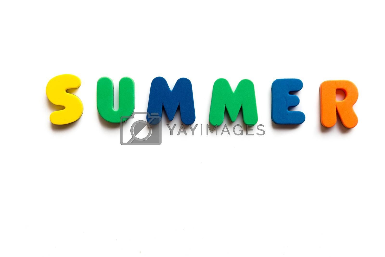 summer word in white background