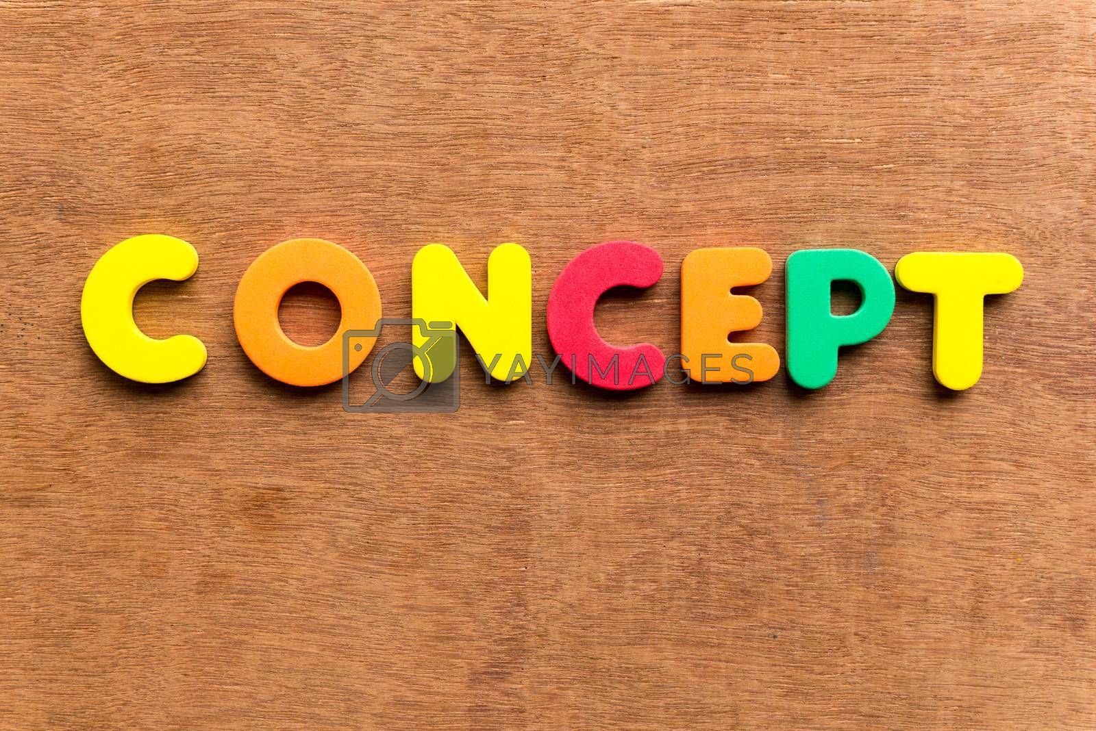 concept colorful word on the wooden background