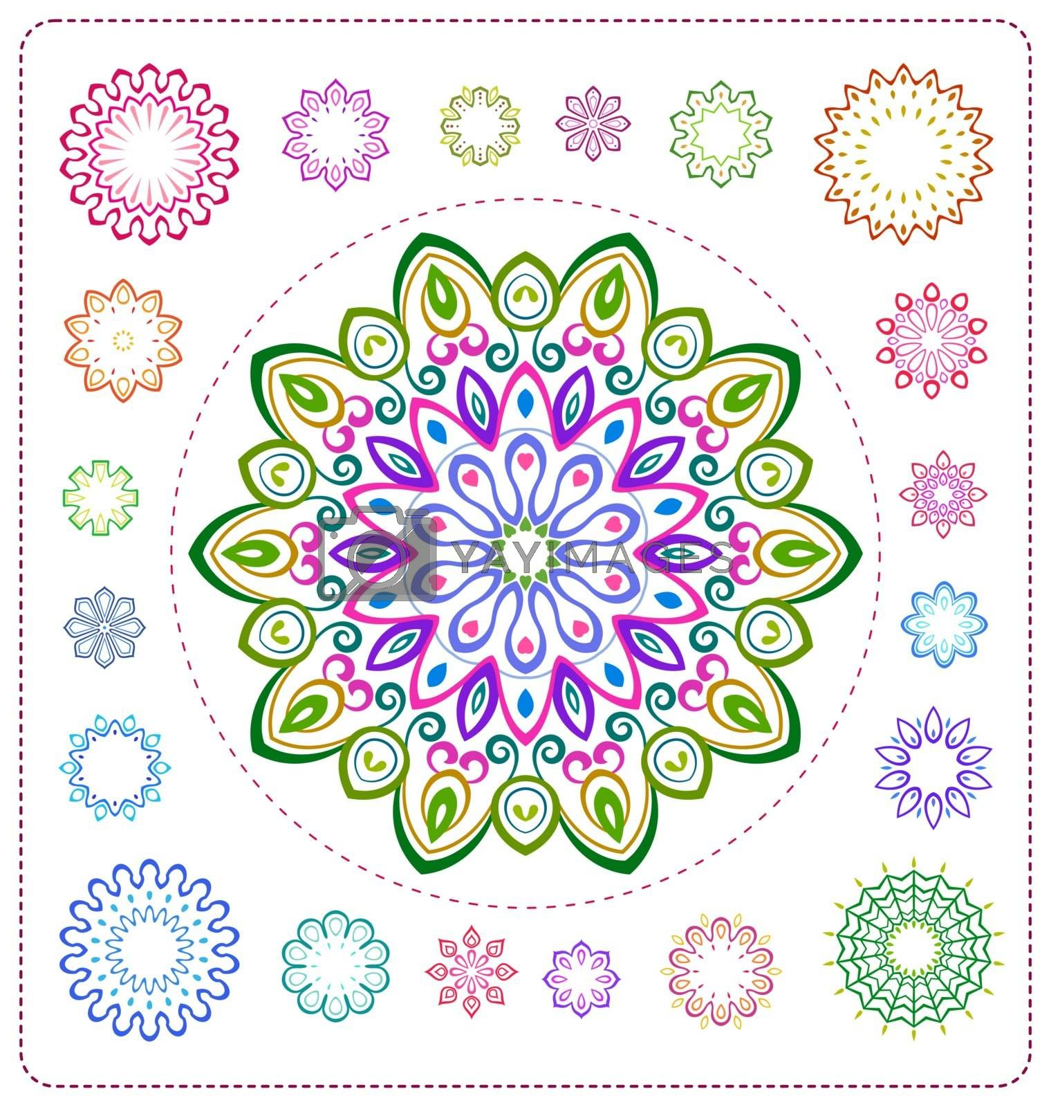 set of colorful mandala illustration in vector format for various use