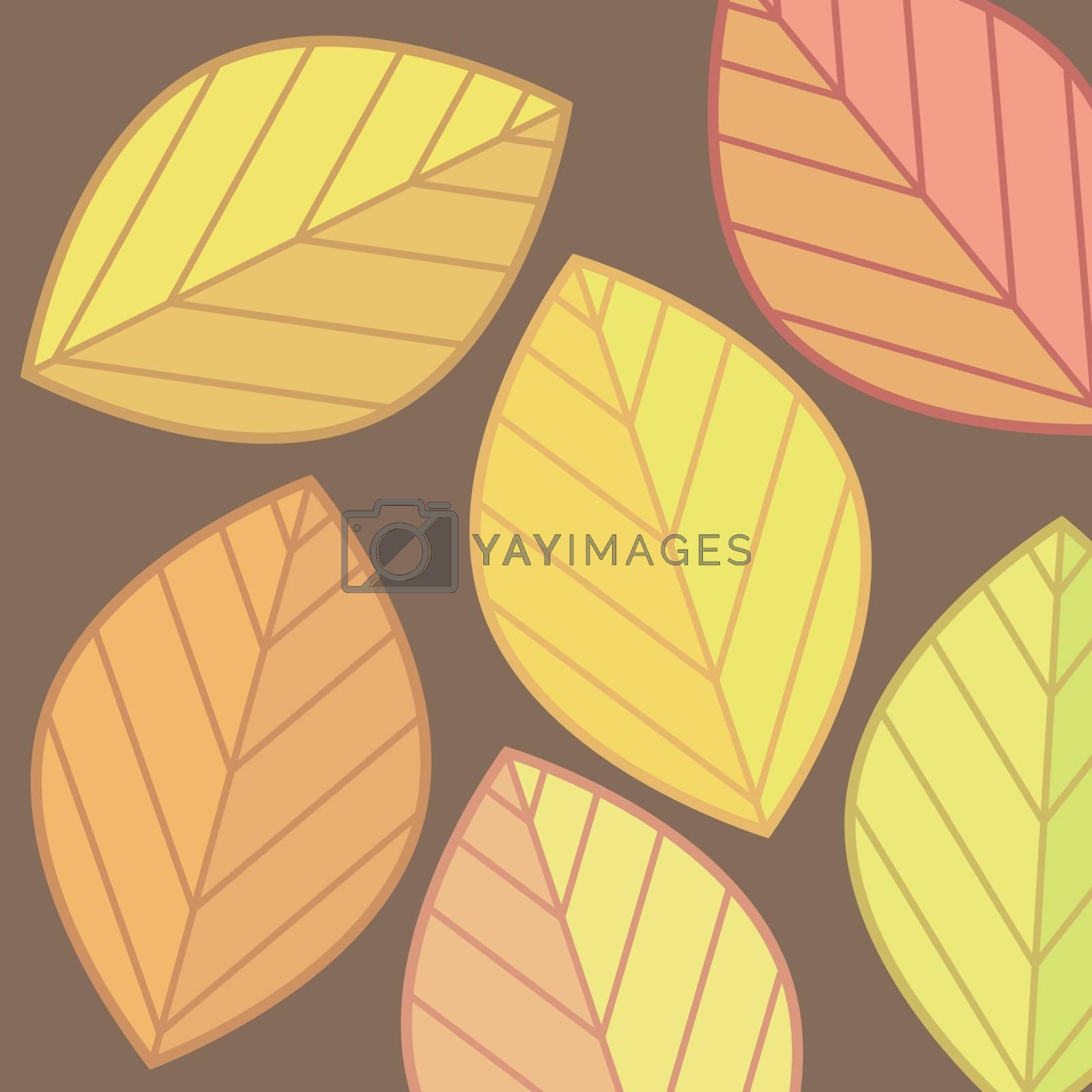 Many autumn leaves yellow and red colors for design. Beautiful background.