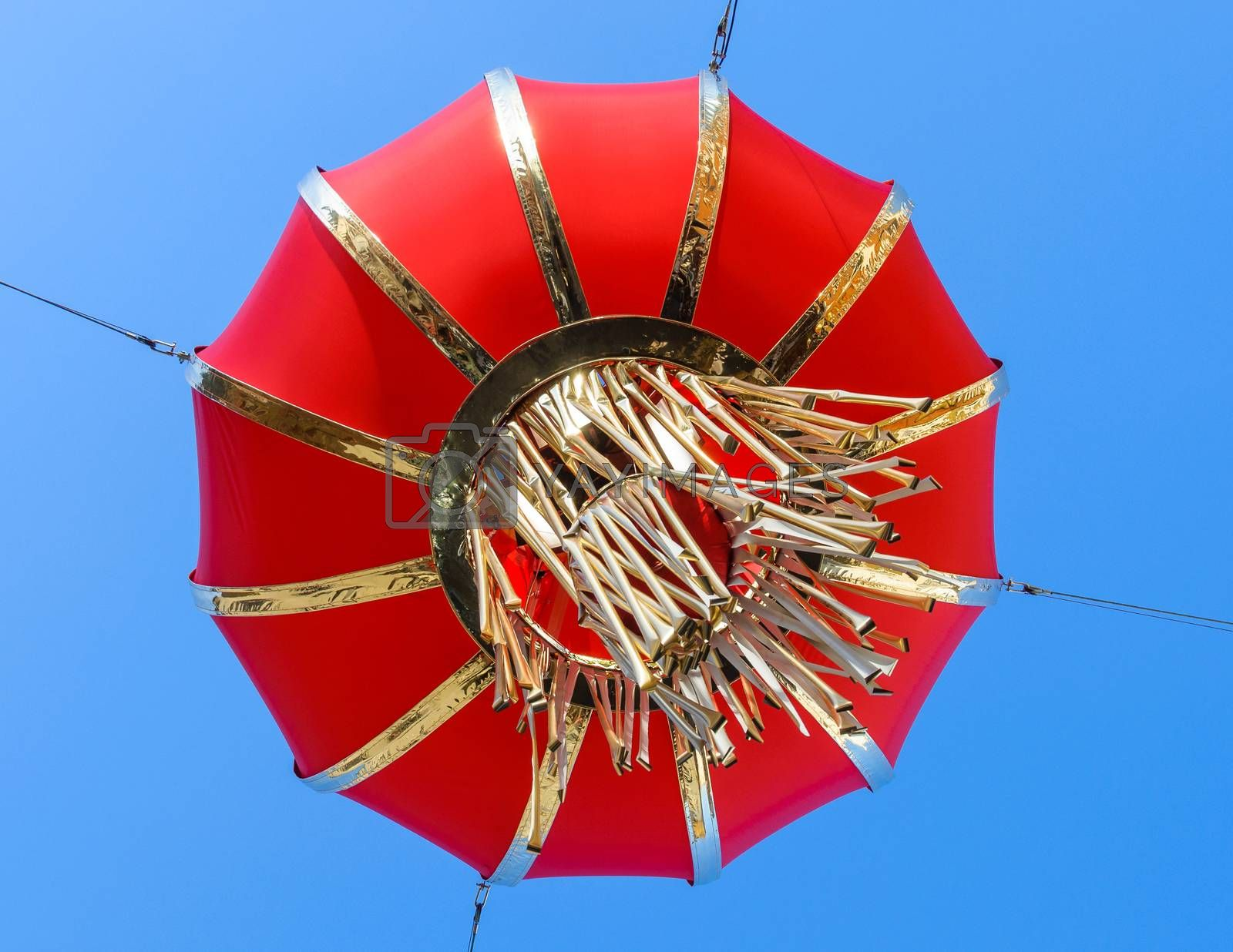 Red chinese lantern, blue sky background