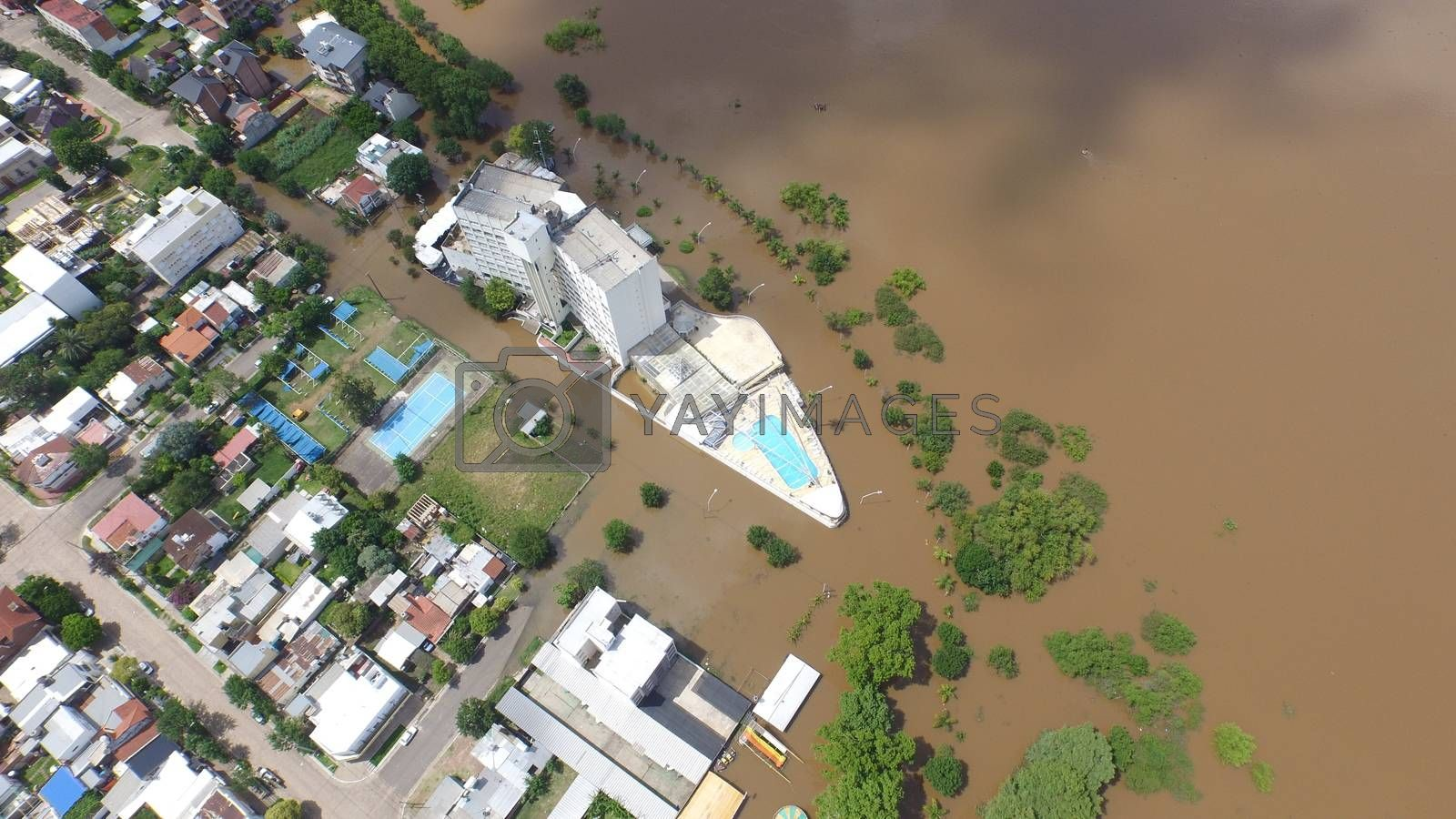 ARGENTINA, Colon: Drone footage shows the flooded city of Colon, Argentina on December 28, 2015. The flooding, caused by a dramatic rise in the level of the Rio Uruguay, had begun more than one week prior. The floods have caused the evacuation of more than 170,000 people in Uruguay, Paraguay, northern Argentina, and southern Brazil.