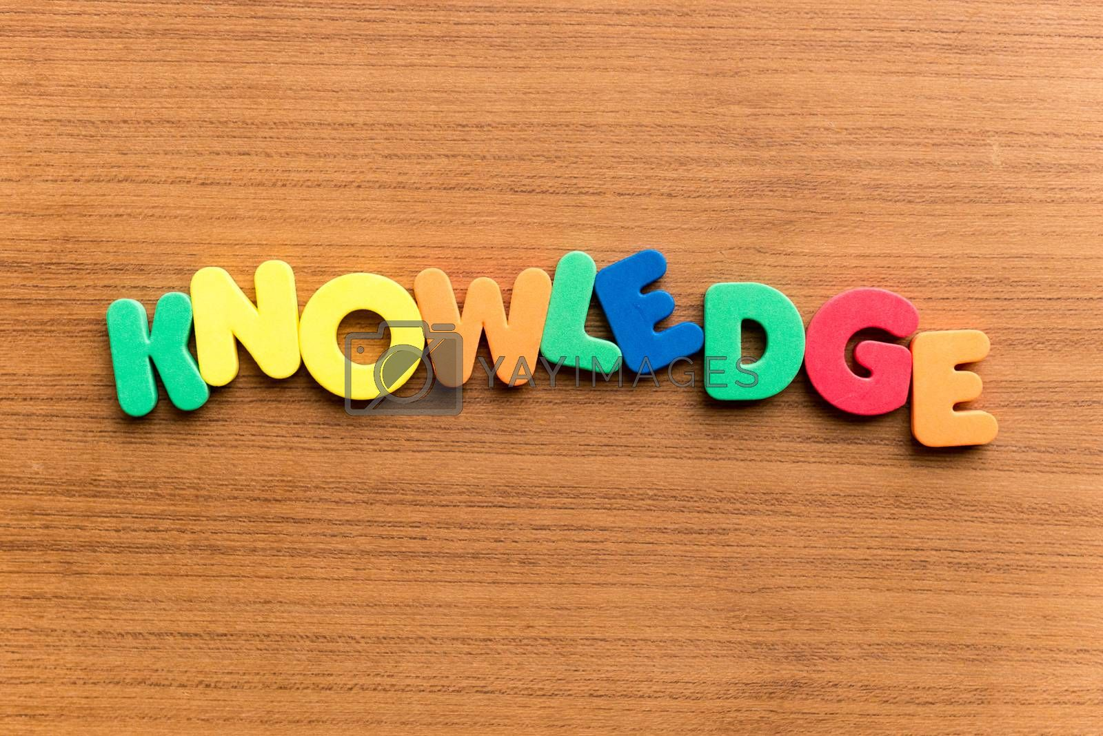 knowledge colorful word on the wooden background