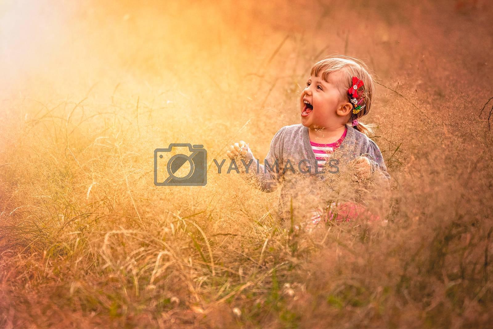 Cute little girl in the high grass in summer
