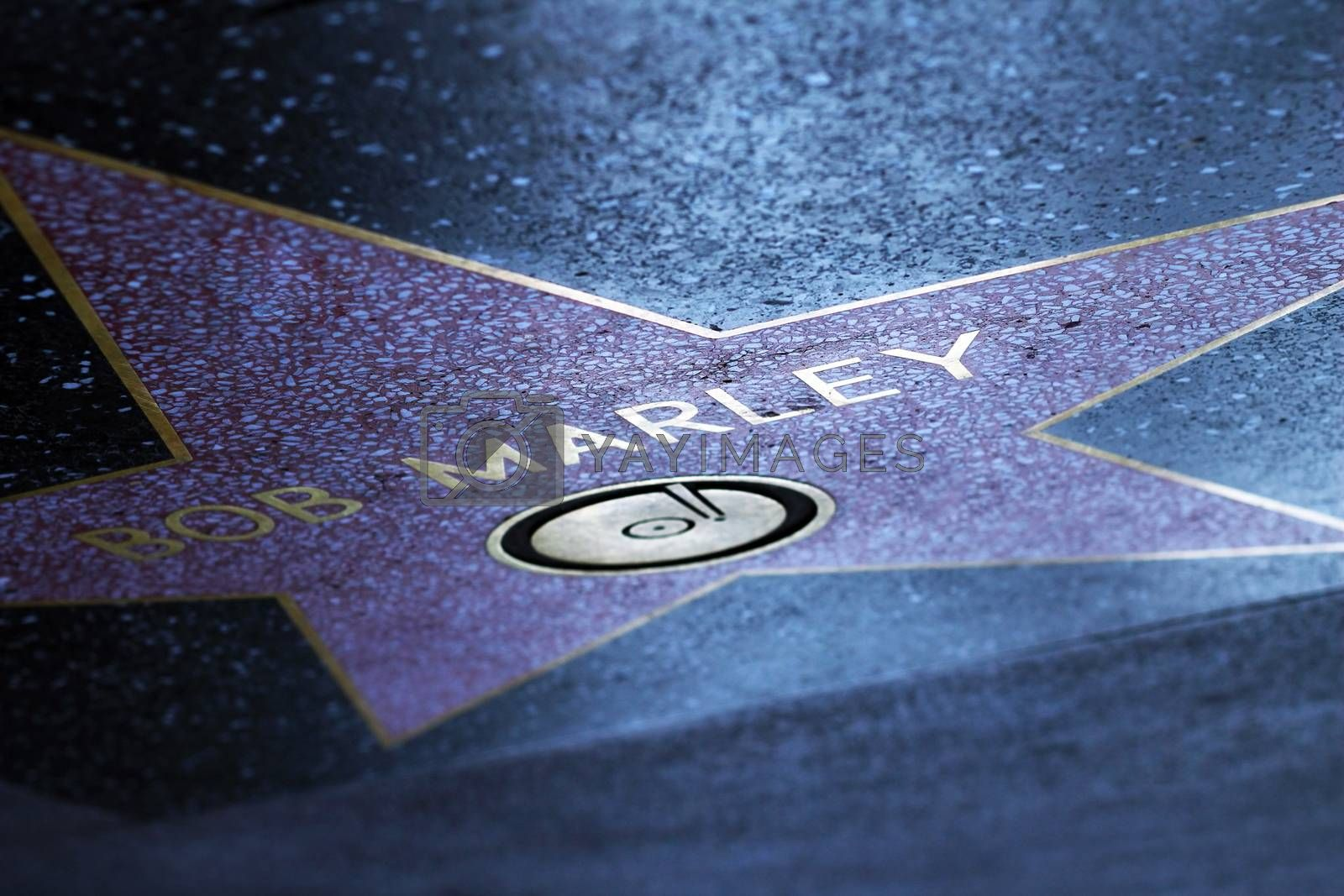 Hollywood, California, United States - September 18, 2011: Star of Bob Marley at the pavement of the Walk of Fame in Hollywood. The star is reserved for the name of a celebrity from the movie industry.