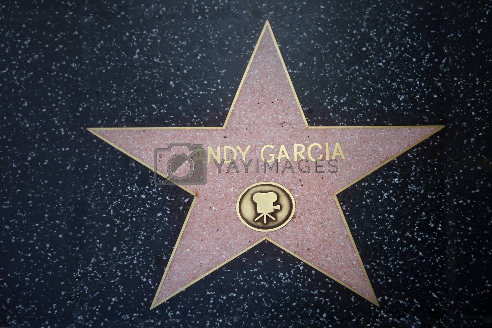 Hollywood, California, United States - September 18, 2011: Star of Andy Garcia at the pavement of the Walk of Fame in Hollywood. The star is reserved for the name of a celebrity from the movie industry.