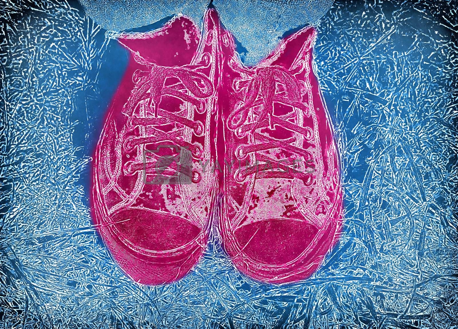 Abstract blue background with feet in pink bright sneakers