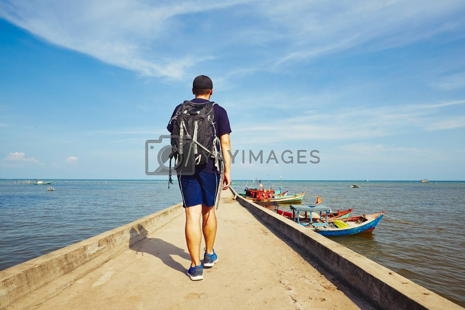 Young traveler with bag pack traveling in Asia