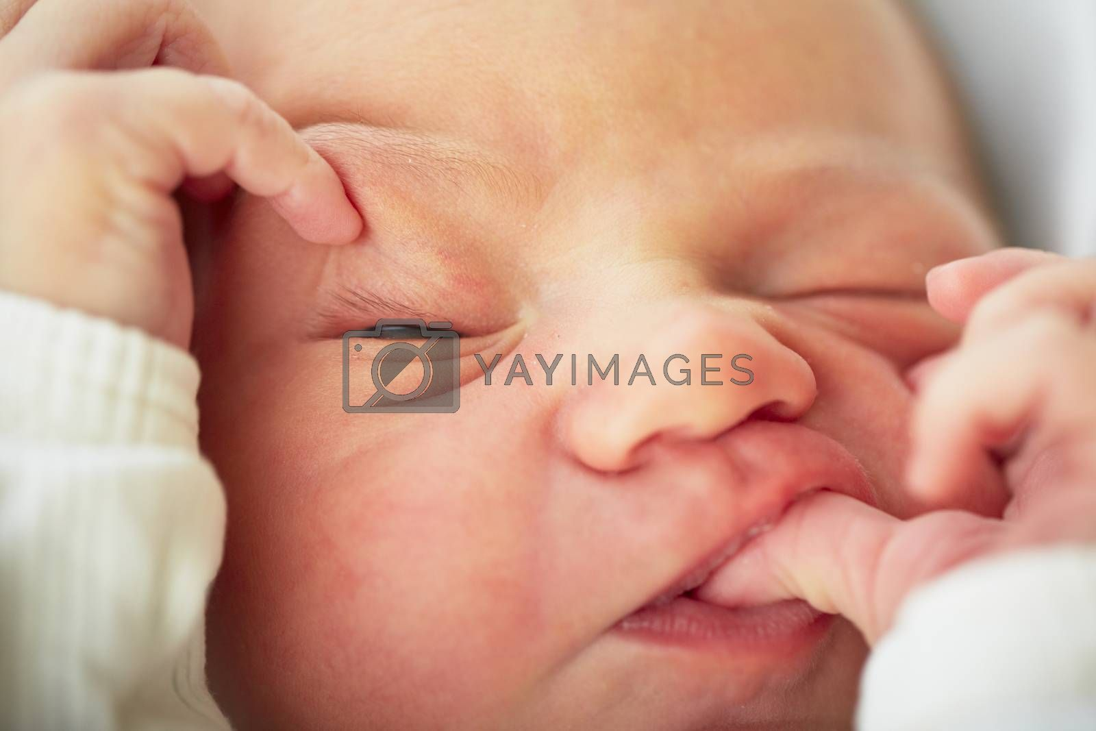 Newborn is baby sleeping - selective focus