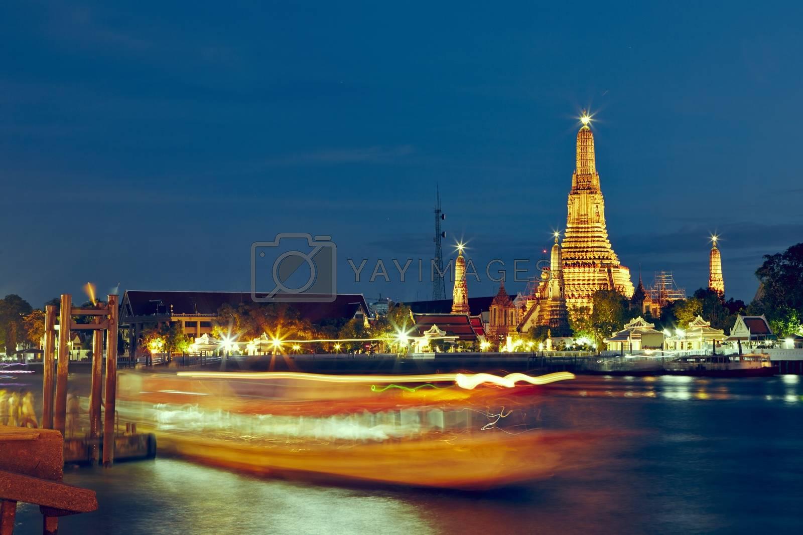 Temple Wat Arun in night - Bangkok, Thailand