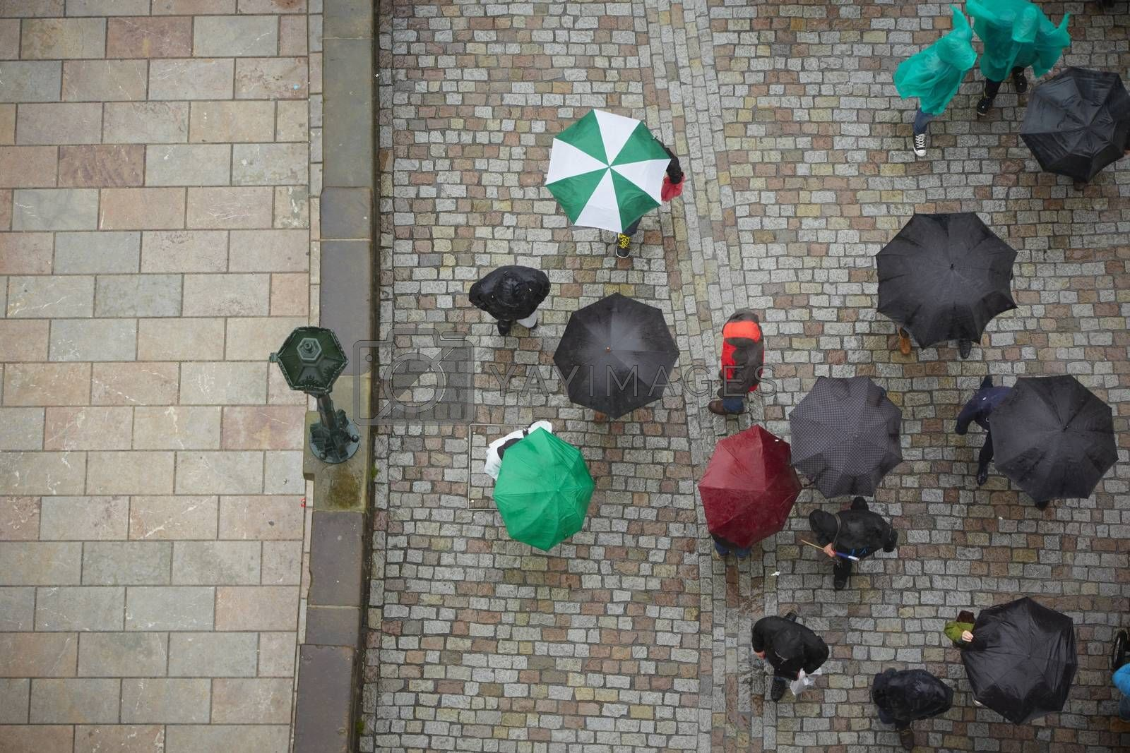 Group of people in rain - Prague, Czech Republic