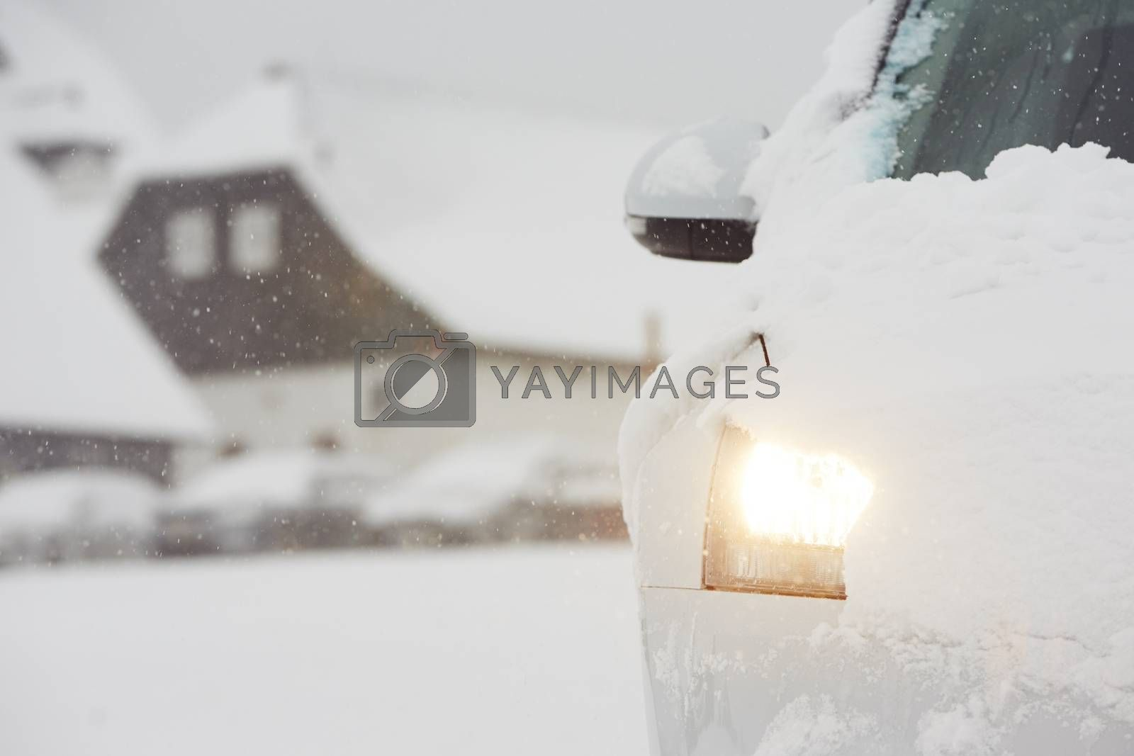 Head light of the car on winter road