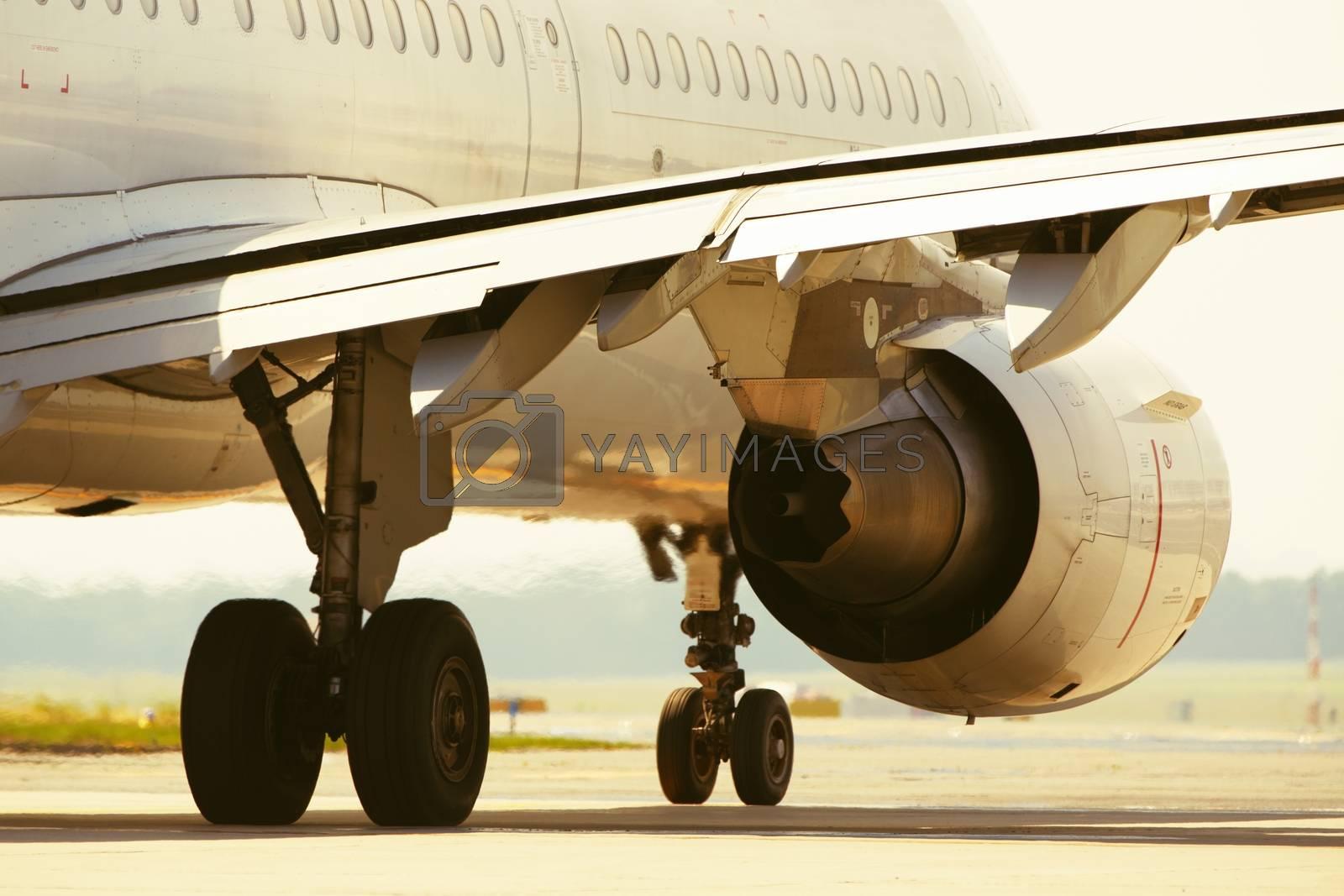 Hot air behind the aircraft engine - selective focus