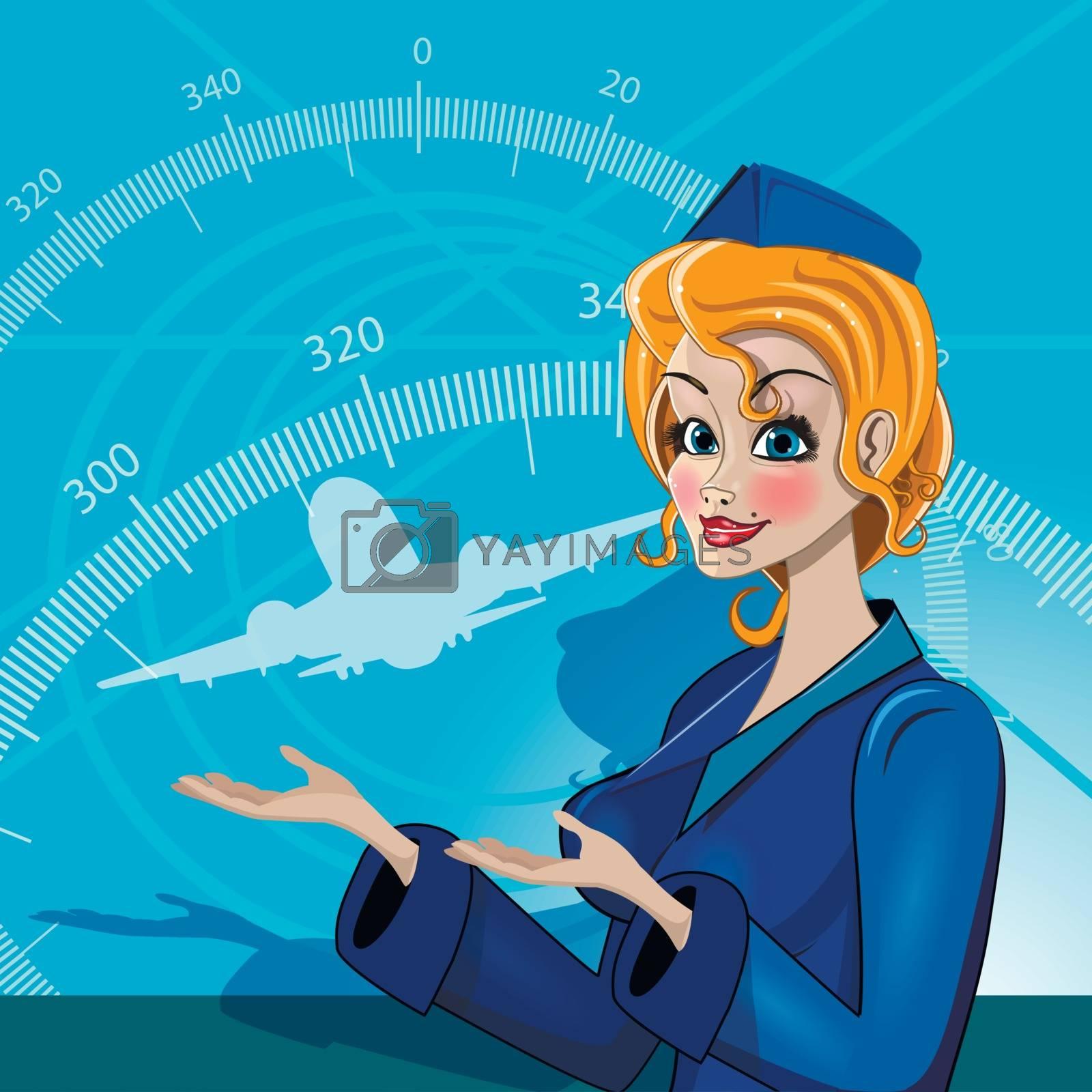 Illustration stewardess in uniform on blue background