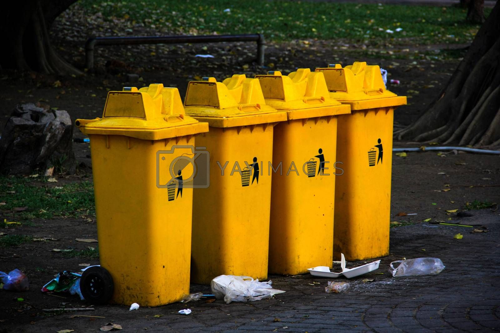 yellow garbage bins by liewluck