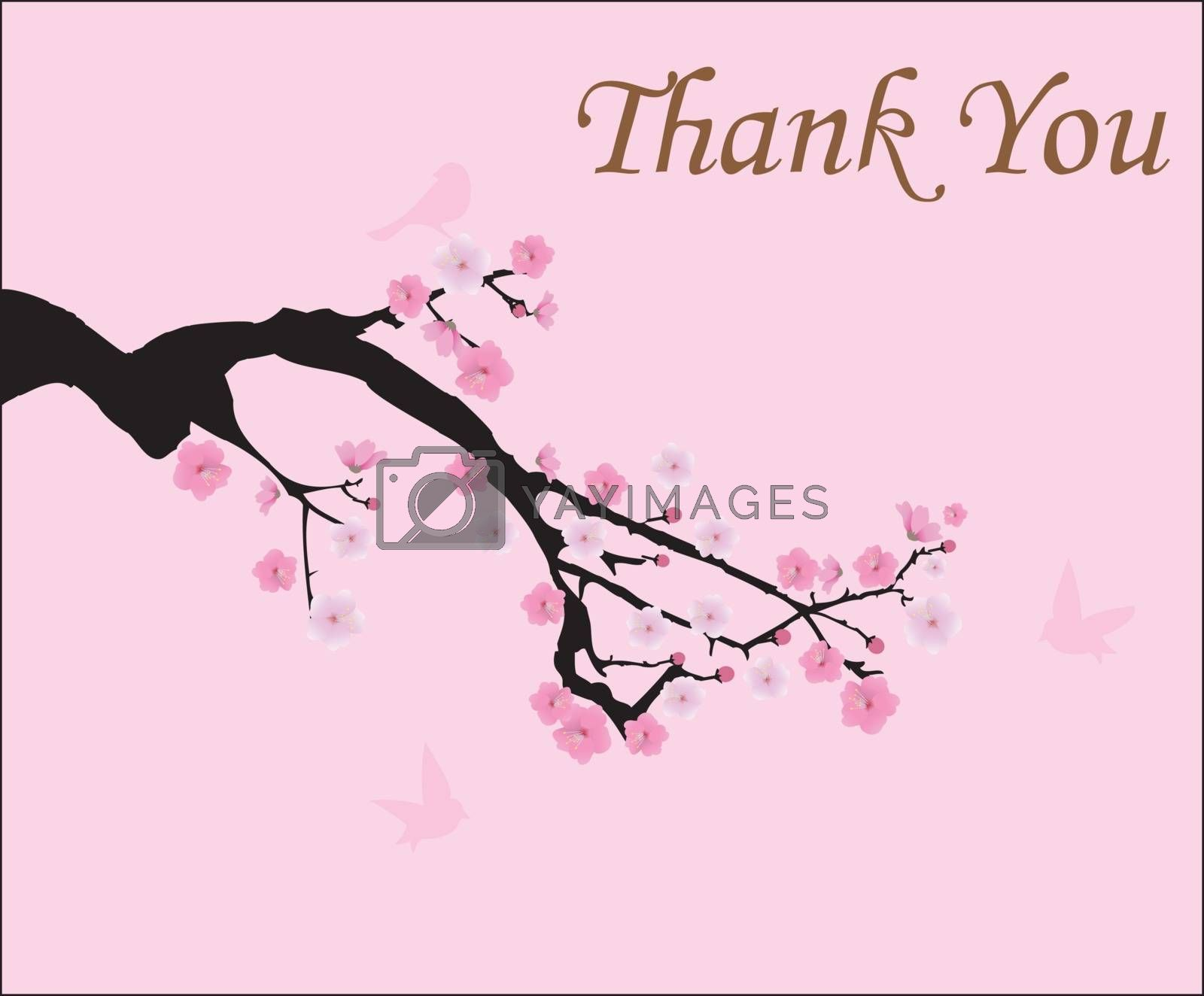 vector illustration of cherry blossom with birds thank you card