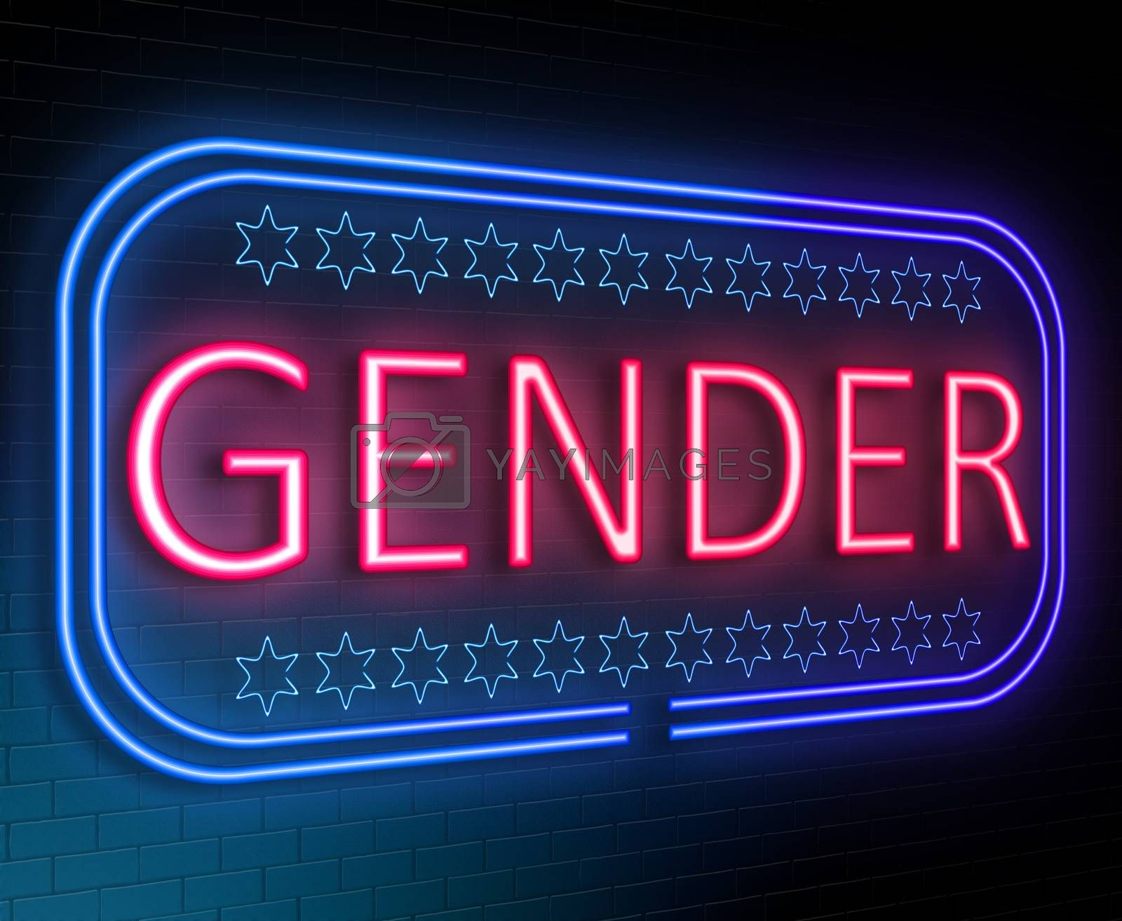 Illustration depicting an illuminated neon sign with a gender concept.