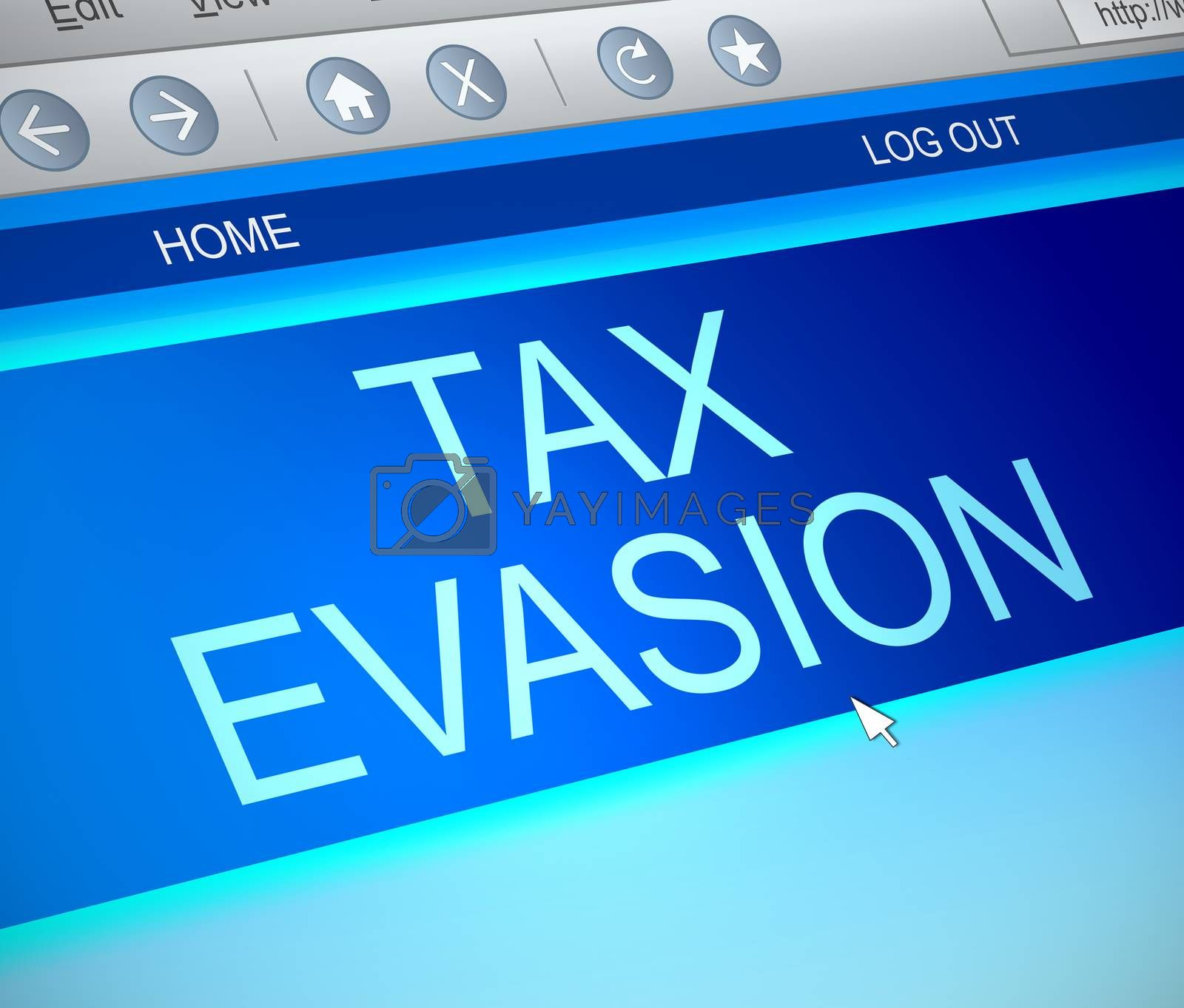 Illustration depicting a computer screen capture with a tax evasion concept.