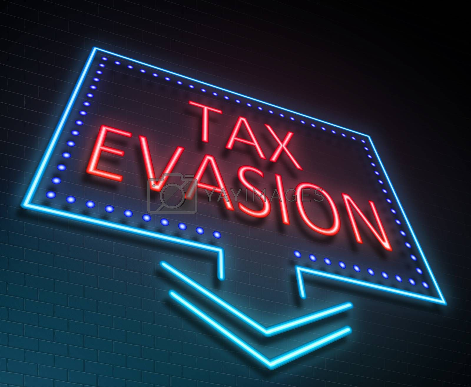 Illustration depicting an illuminated neon sign with a tax evasion concept.