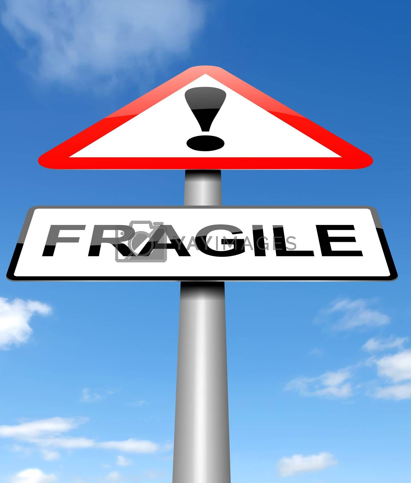 Illustration depicting a sign with a fragile concept.
