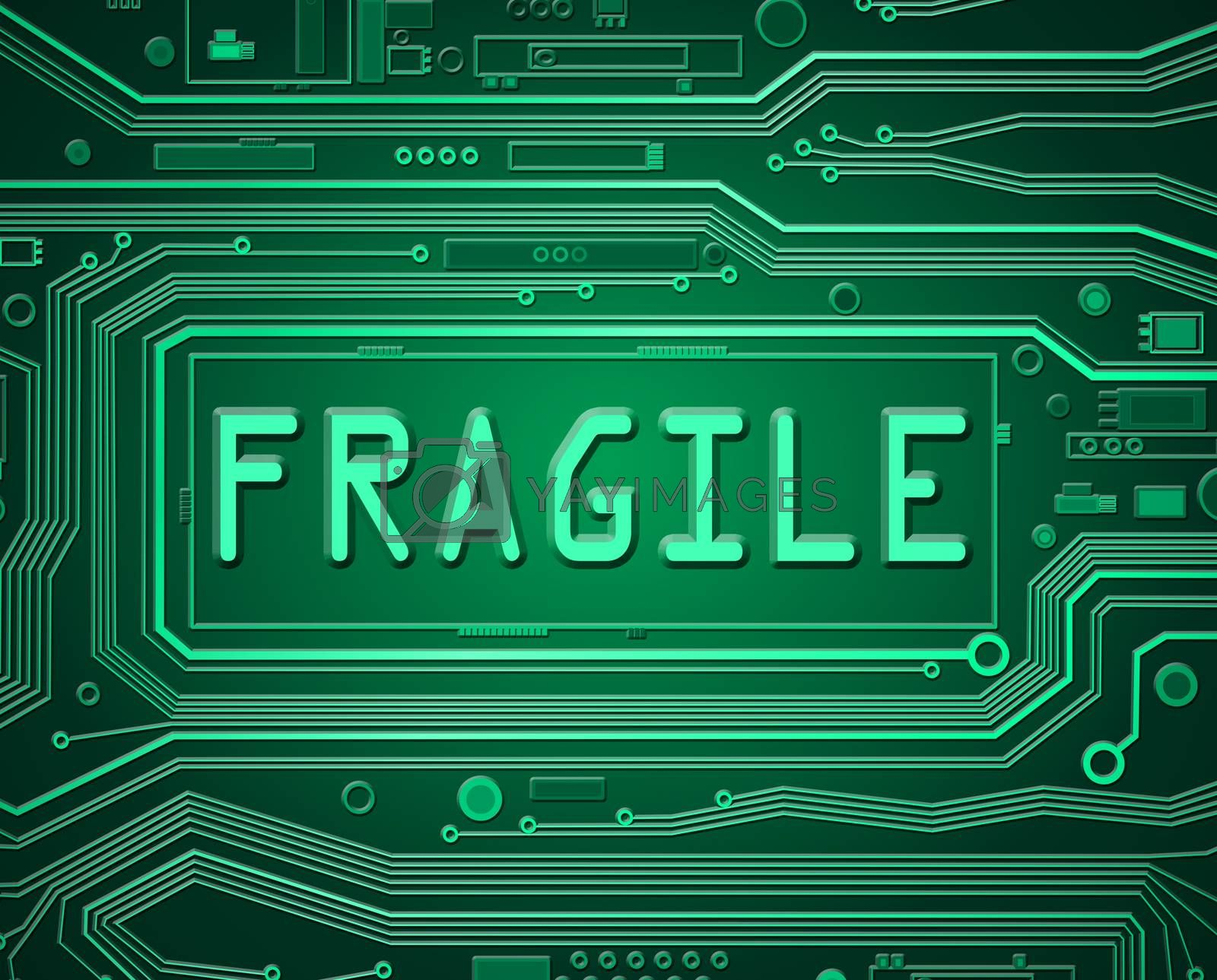 Abstract style illustration depicting printed circuit board components with a fragile concept.
