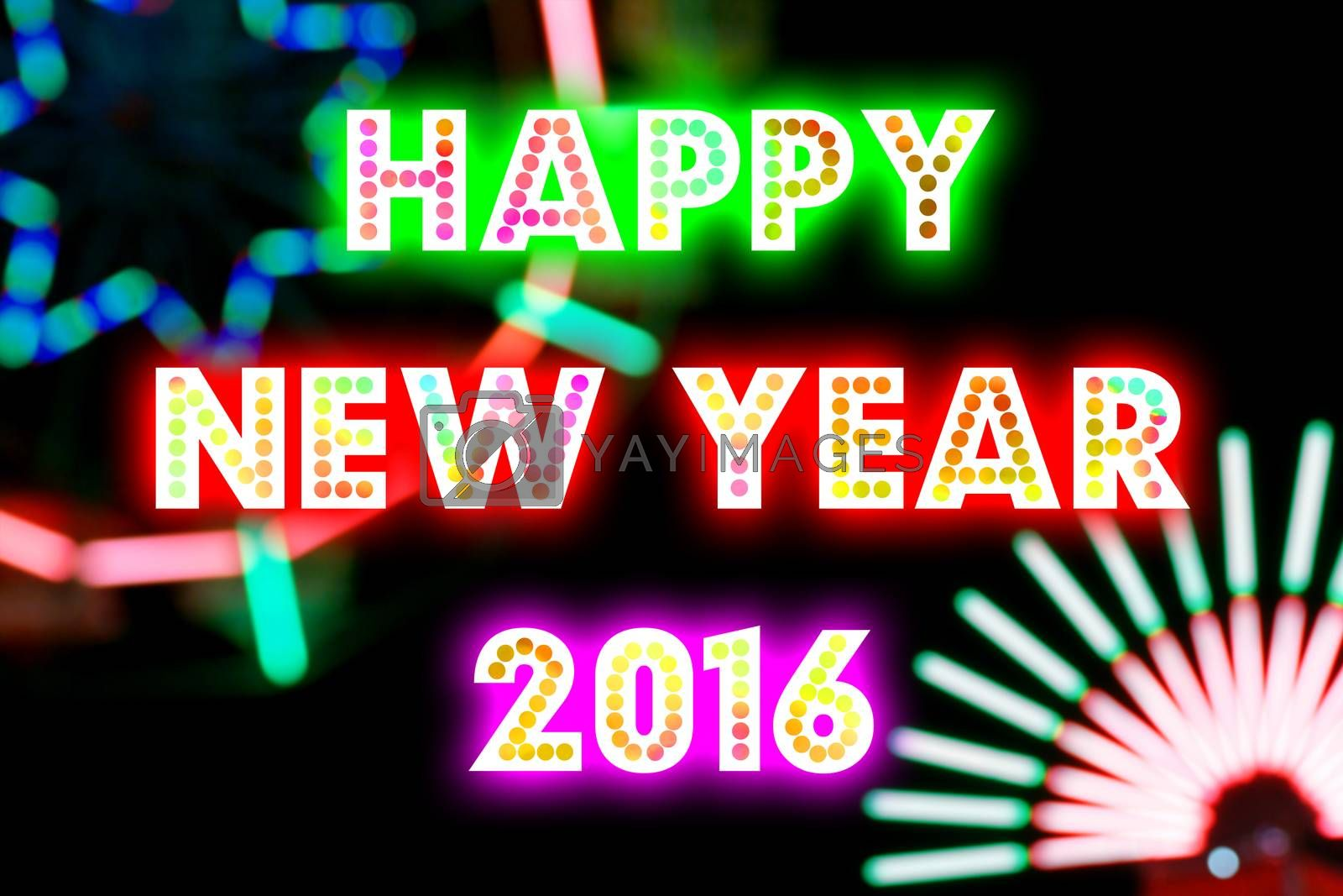 Royalty free image of HAPPY NEW YEAR 2016 word with colorful decoration by mranucha