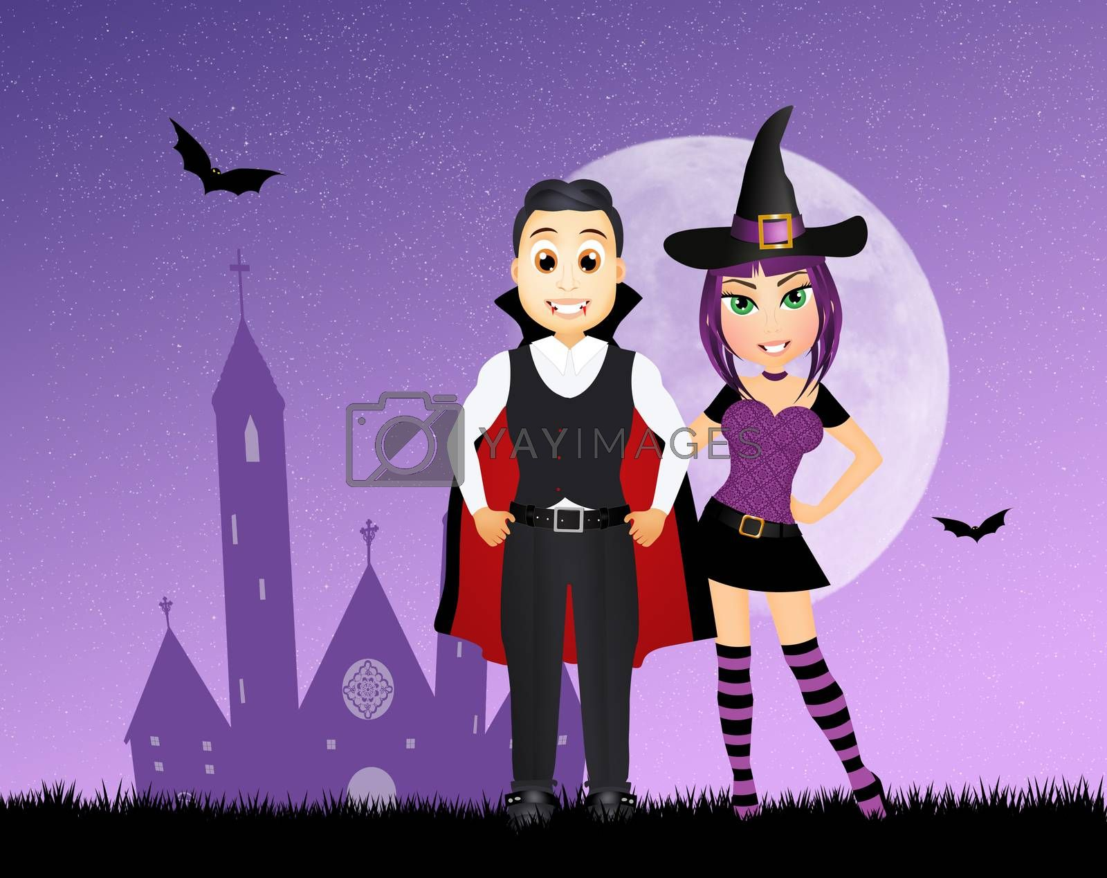 illustration of couple masquerade for halloween